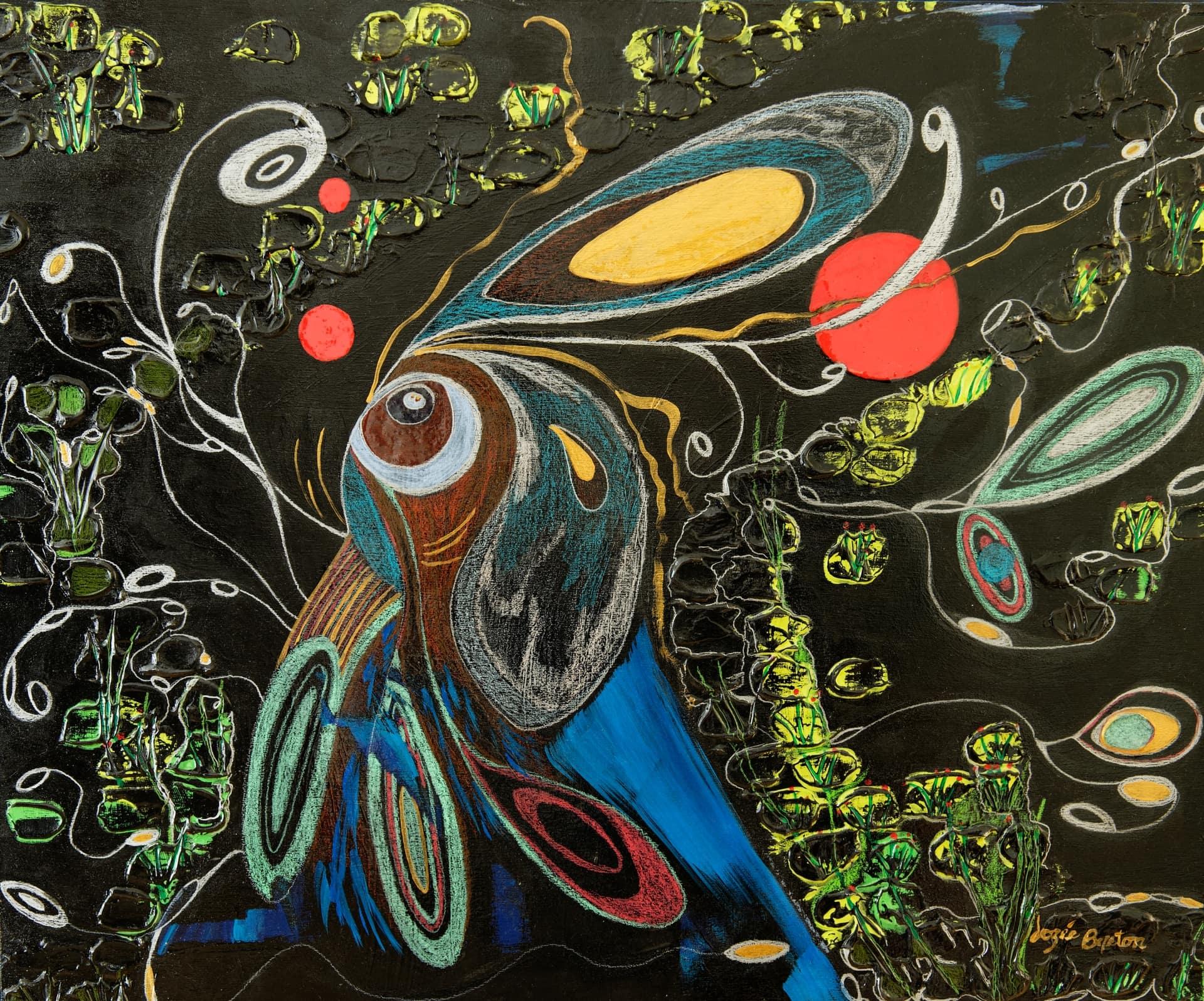 Toile « Hommage à Spoofy, alias Lapin Guerrier » de l'artiste Jozée Breton