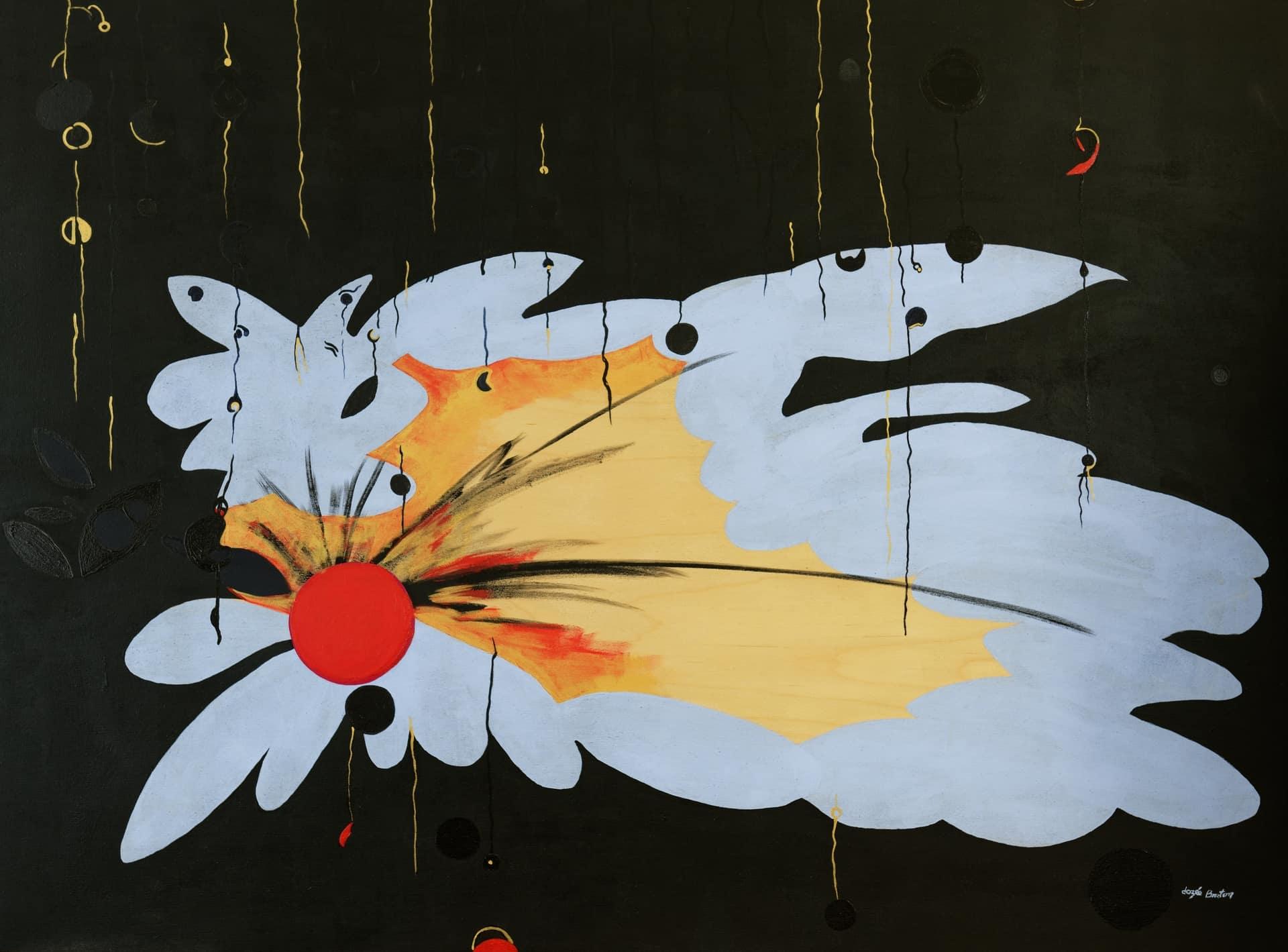 Toile « La Mort du Geai bleu » de l'artiste Jozée Breton